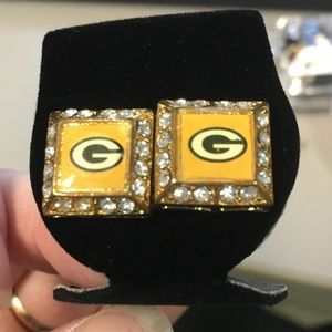 Jewelry - Vintage Green Bay Packers Rhinestone Gold Earrings